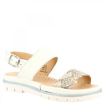 Leonardo Schuhe Frauen's handgemachte flache Sandalen aus weißem Kalbsleder mit Schnalle Verschluss