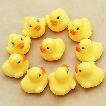 10pcs Mini Baby Kids Squeaky Rubber Ducks Bath -bathe Room Water Fun Game