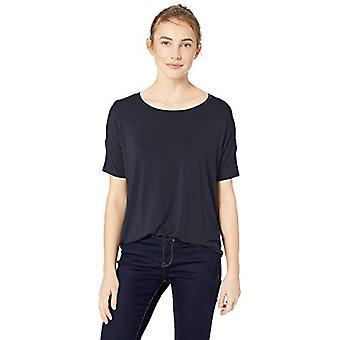 Brand - Daily Ritual Women's Jersey Rib Trim Drop-Shoulder Short-Sleeve Scoop Top, Navy, X-Large