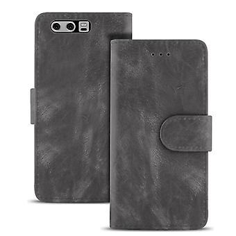 Vintage Microfiber Case for Huawei P10 Card Compartment Navy Magnetic Lock Leather Coat Grey