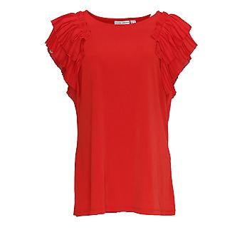 Susan Graver Women's Top Liquid Knit Top with Pleated Sleeve Red A374050