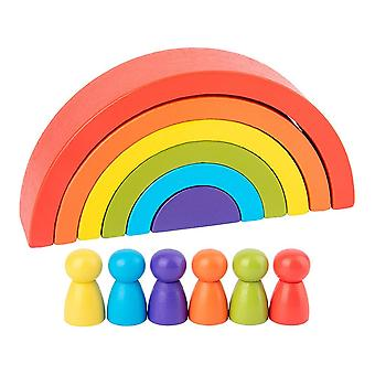 Rainbow-building Blocks Rainbow-stacking-arch Wooden-stacker Toys For Kids