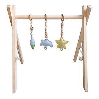 Nordic Style Baby Gym Play Frame Nursery Sensory Ring Pull Toy - Support en bois