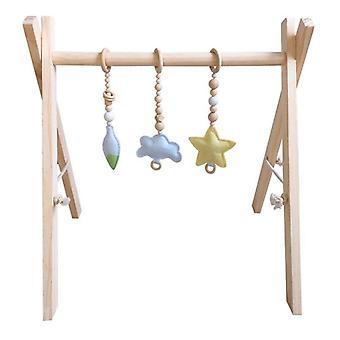 Estilo nórdico bebé gimnasio jugar marco vivero de anillo sensorial tirar de juguete - estante de madera
