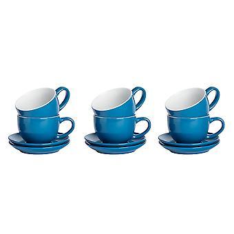12 kpl värillistä Cappuccino-kuppia ja lautassenttiä - Modernin tyylin posliiniteetä ja kahvikuppeja - sininen - 250ml