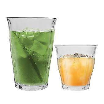 Duralex Picardie Drinking Glasses - 220ml Tumblers, 360ml Highballs - Ensemble de 12