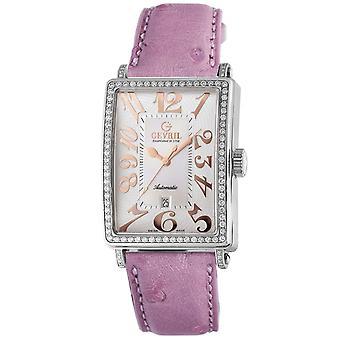 Gevril Kvinnor's 6208RL Glamour Automatisk Diamond Rosa Läder Armbandsur