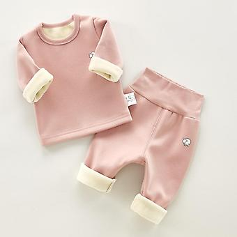 Solid Long Sleeve T-shirt Pants For Baby /