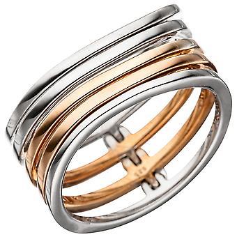 Naisten rengas leveä monirivinen 925 sterling hopea bicolor kullattu hopea rengas