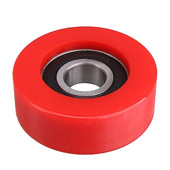6204 7cm OD Red Flat Type Round Pulley Engineering Plastics Guide Pulley