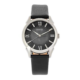 Bertha Ida Mother-of-Pearl Leather-Band Watch - Black