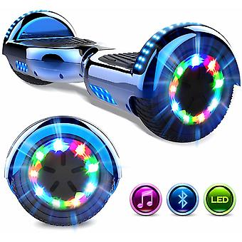 Right Choice Hoverboard Self Balanced Electric Scooter - eingebaute Bluetooth Lautsprecher - LED Wheel-Chrome blau