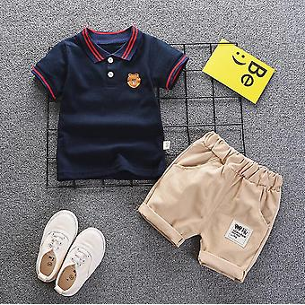 Baby Summer Clothes Suit, Gentleman Style, Camisa +calças