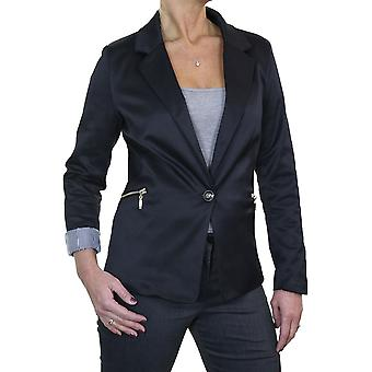 Women's Sateen Sheen Fully Lined Fitted Blazer Ladies Smart Formal Evening Long Sleeve Lapel Jacket With Zip Pockets 6-12