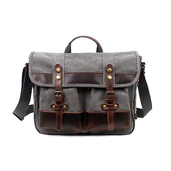 Cotton Canvas And Genuine Leather Accents Messenger Bag