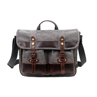 Puuvillakangas ja aito nahka-aksentit Messenger Bag