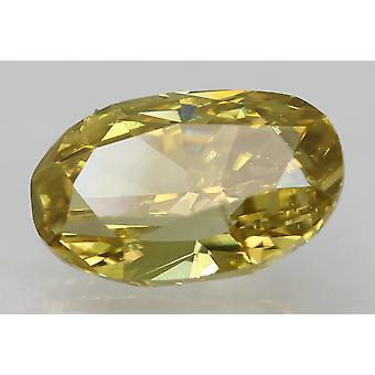 Cert 1.02 Karat Fancy Vivid Yellow VS1 Oval Enhanced Natural Diamond 7.86x4.97mm