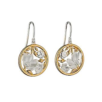Elements Silver Womens 925 Sterling Sølv Cherry Blossom Disc Formet Hook Øreringe med Real Gul Gold Plating
