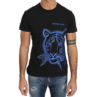 ג ' ינס ורסצ כותנה שחור כחול טייגר רקמה חולצת קרונק