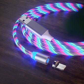 USB naar 8 Pin Magnetische Zuiging Kleurrijke Streamer Mobiele Telefoon Oplaadkabel, Lengte: 1m (Kleurlicht)