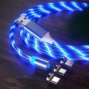 3 in 1 USB naar 8 Pin + Type-C / USB-C + Micro USB Magnetic Absorption Kleurrijke Streamer Oplaadkabel, lengte: 1 m (Blauw licht)