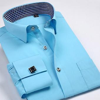 Mankiet Koszule, Męskie Długi Rękaw, Formalna Sukienka Biznesowa Koszula, Solid Wedding