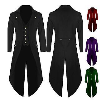 Miehet Blazer Retro goottilainen nappi tailcoat muodollinen takki