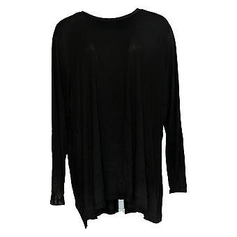 H by Halston Women's Plus Top Essentials Long Sleeve Crew Black A294968