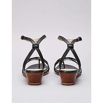 Brand - find. Women's Asymetric Toe Thong Wedge Sandal, Black, US 9.5
