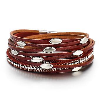 Leaf Charm Pink Leather Bracelets