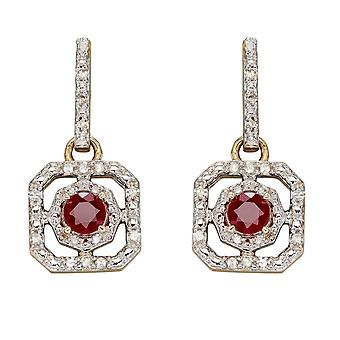 Elements Gold 9ct Ruby Illusion Setting Diamond Art Deco Yellow Gold Earrings GE2359R