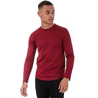 Men's Armani Eagle Logo Long Sleeve T-Shirt in Red