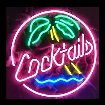 Cocktails Palm Tree Glass Neon Light Sign Beer Bar