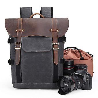 Camera backpack, canvas slr dslr camera bag large capacity front open waterproof anti-shock camera r