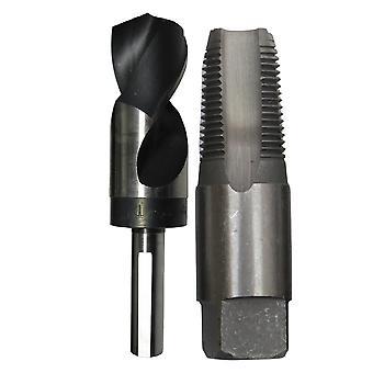 """3/8"""" Carbon Steel Npt Tap Und 37/64"""" Hss Bohrer in Plastikbeutel. 37/64"""" Drill Bit hat 1/2"""" Shank."""