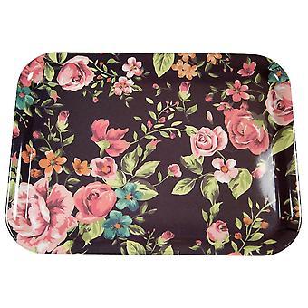 Tablett Rosen schwarz/rosa 43x22 cm
