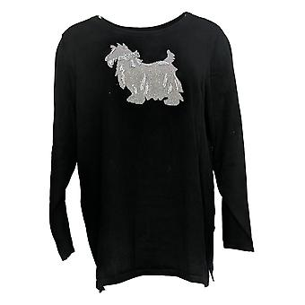 Quacker Factory Women's Sweater Holiday Sequin Long Slv Black A386992