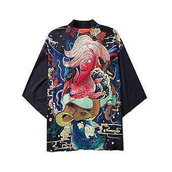 Japansk stil Afslappet Streetwear Cardigan Japan Harajuku Anime Tynd kåbe