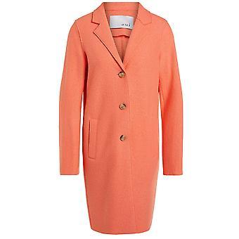 Oui Apricot Boiled Wool Coat