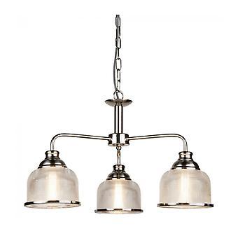 Lámpara Colgante Bistrot Ii, Plata Satinada Y Vidrio, 3 Bombillas