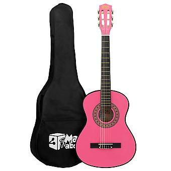 Pink 1/4 Classical Guitar by Mad About - Colourful Guitar with Bag
