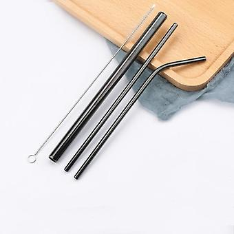 Stainless Steel Straws, Reusable Straight Bent Drinking Straw With Cleaner