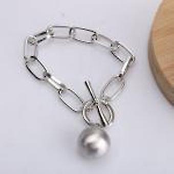 Trend Hip Hop Oval Thick Chain Metal Ball Pendant Necklace Bracelets