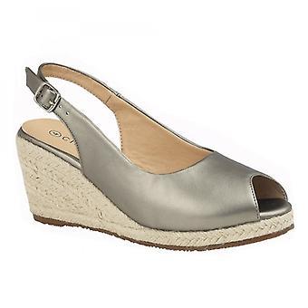 Cipriata Regina Ladies Wedge Heel Sandals Pewter