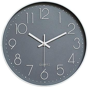 Gerui Wall Clock 12 Inch Silent Non Ticking Clock for Living Room Bedroom Kitchen Office (Grey-White)
