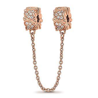 925 Sterling Silber Reflexionen Rose Ton CZ Zirkonia simuliert Diamant Sicherheit Kette Liebe Herz Anhänger Halskette