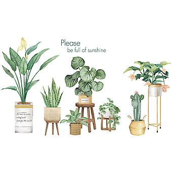 Tropical Green Plants Wall Sticker Home Decal (size:158cm X 92cm)