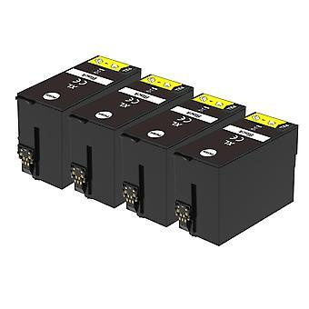 4 Schwarze Tintenpatronen als Ersatz für Epson T3471 (34XL-Serie) Kompatibel/Nicht-OEM von Go-Tinten