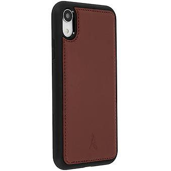 Akashi leather hard case for Apple iPhone XR, rear cover – Brown