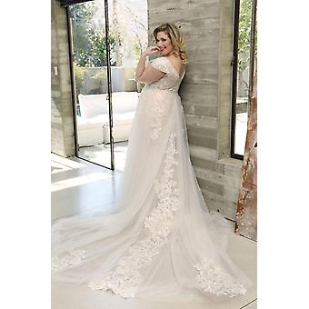 الأزهار طباعة الخامس الرقبة فستان الزفاف تول الدانتيل قطار فستان الزفاف